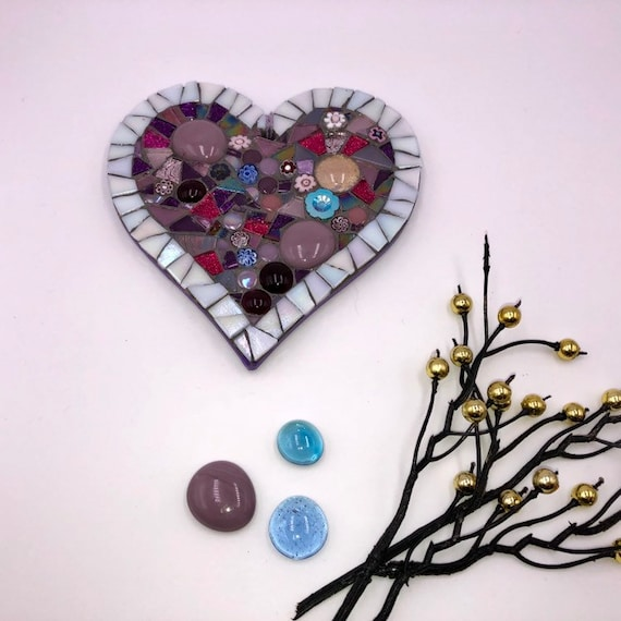 Handmade glass mosaic hanging pink and purple heart ornament Unique gift idea Home decor Gift for her Heart gift Wall art Wall decor
