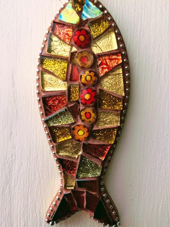 Handmade glass mosaic hanging gold and orange fish ornament Unique gift idea Bathroom decor Wall art Wall decor