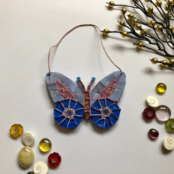 Handmade glass blue hanging butterfly mosaic  Butterfly ornament Unique gift idea Home decor