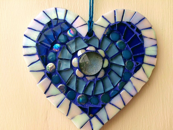 Handmade glass mosaic hanging blue heart ornament Unique gift idea Home decor Gift for her Heart gift Wall art Wall decor
