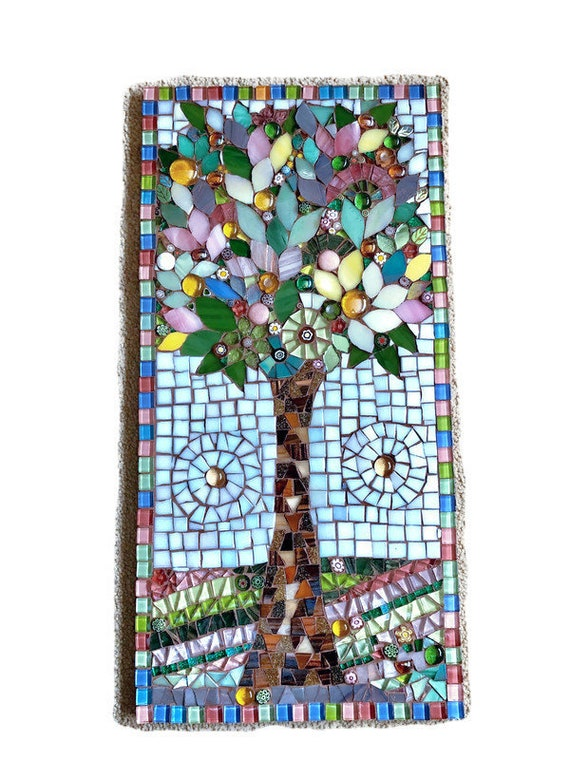 Mosaic Tree Picture ; Mosaic wall art;  Unique gift idea; Home decor