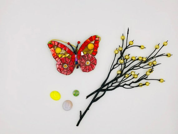 Handmade glass red and gold hanging butterfly mosaic  Butterfly ornament Unique gift idea Home decor