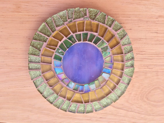 Handmade glass round gold and green mosaic coaster Unique gift idea Living room decor Gift for her