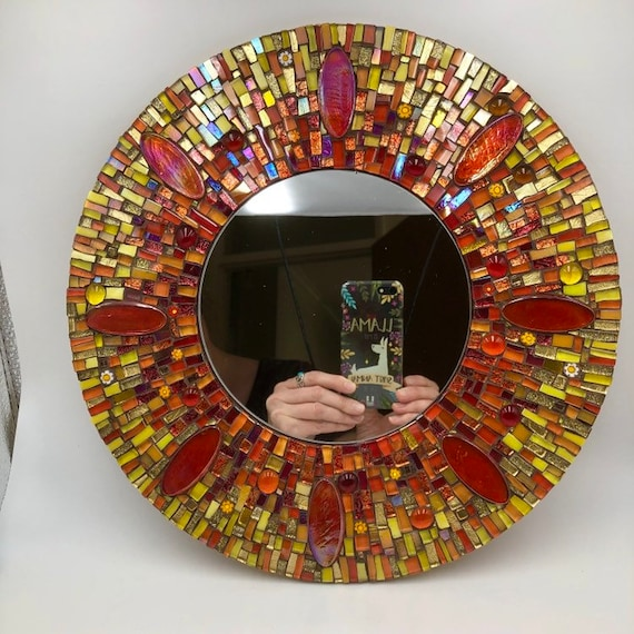 Handmade glass mosaic round mirror Abstract sun image Wall art mirror Home decor Unique gift idea Gift for her