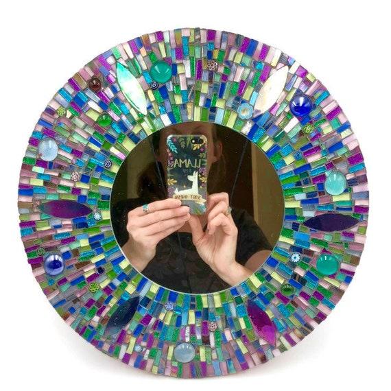 Handmade glass mosaic round 'A Drop in the Ocean' mirror Wall art mirror Home decor Unique gift idea
