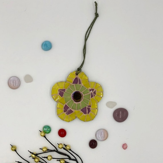 Handmade glass yellow mosaic hanging flower ornament Unique gift idea Home decor Gift for her Mothers' Day