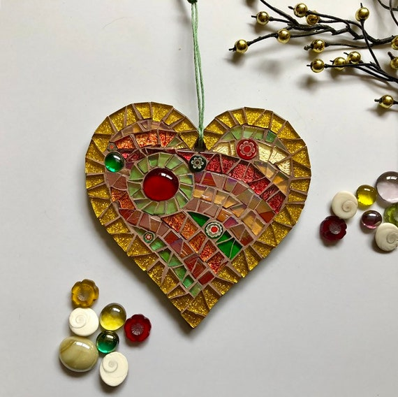 Handmade glass mosaic hanging heart ornament red gold green Unique gift idea Home decor Heart gift Wall art Wall decor Christmas gift