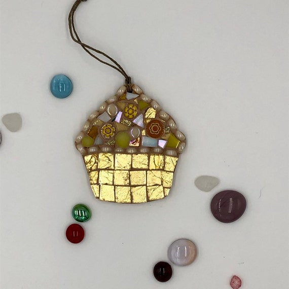 Handmade glass gold mosaic hanging cupcake ornament Unique gift idea Kitchen decor Christmas gift