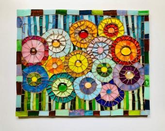 Mosaic Picture ; Mosaic wall art; Flower art; Unique gift idea; Home decor
