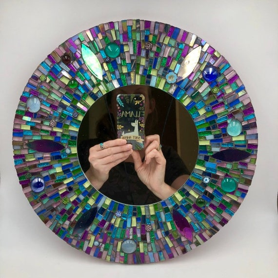 Handmade glass mosaic round 'A Drop in the Ocean' mirror Wall art mirror Home decor Unique gift idea Gift for her