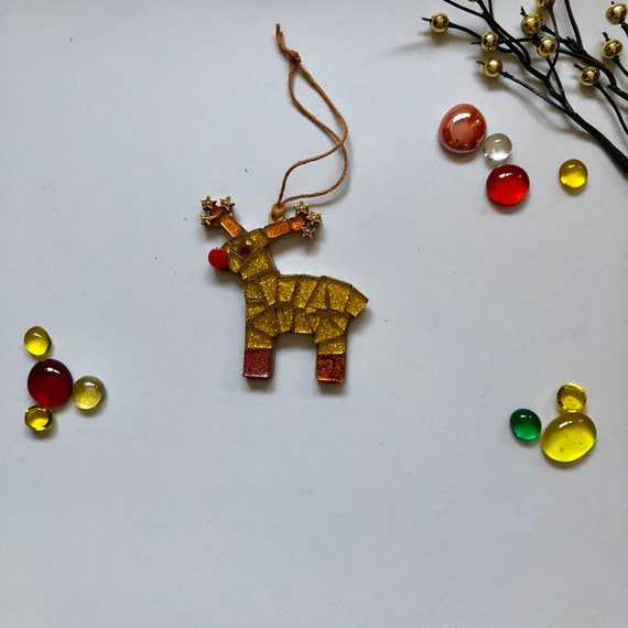 Handmade glass mosaic reindeer  Christmas tree ornament Christmas decoration Unique gift idea Home decor Hanging ornament Copper Gold