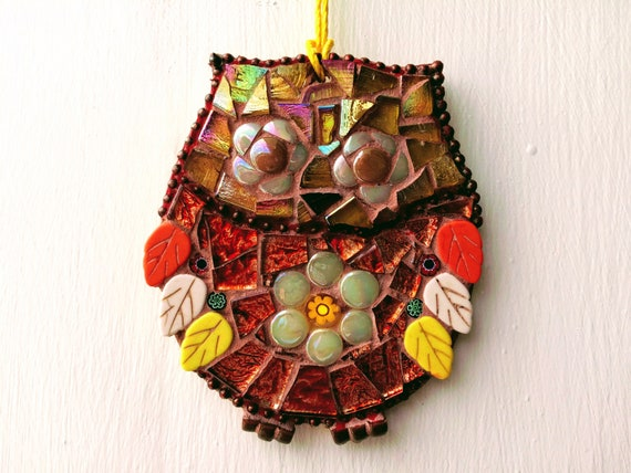 Handmade glass mosaic yellow and orange hanging owl ornament Unique gift idea Home decor Gift for her