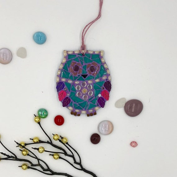 Handmade glass mosaic blue and purple hanging owl ornament Unique gift idea Home decor Christmas gift