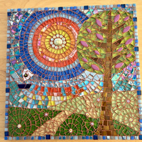 Handmade glass abstract tree, fields and sea mosaic folk art picture Mosaic wall art Unique gift idea Home decor 'Sail Away' Mosaic wall art