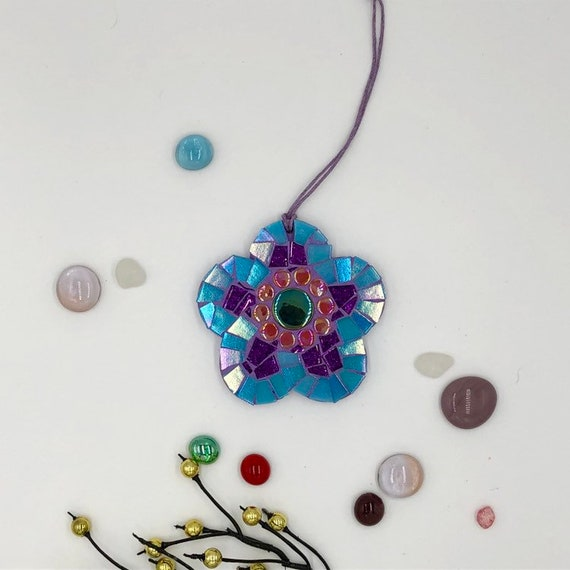 Handmade glass blue mosaic hanging flower ornament Unique gift idea Home decor Gift for her Mothers' Day