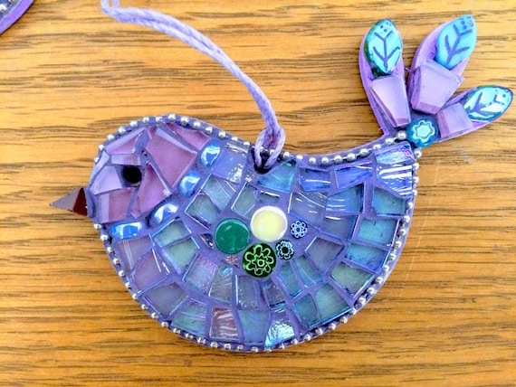 Handmade glass mosaic blue and purple hanging bird ornament Unique gift idea Bird wall art Home decor Gift for her