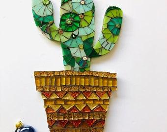 Mosaic Cactus Plant Ornament; Cactus wall art; Cactus in a pot; Handmade glass art; Unique gift idea; Home decor