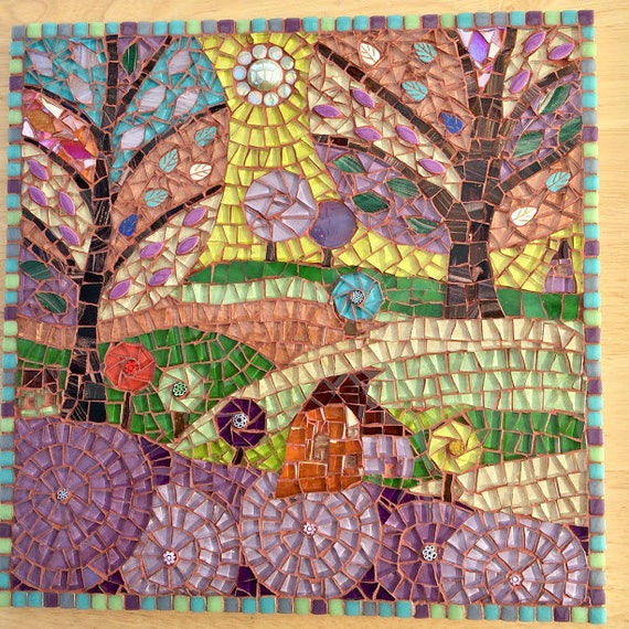 Handmade glass abstract tree and fields mosaic folk art picture Unique gift idea Home decor 'Spring Fields' Mosaic wall art