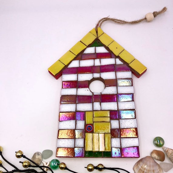 Handmade glass mosaic hanging red white yellow beach hut ornament Unique gift idea Home decor Gift for her Seaside art Wall art Wall decor