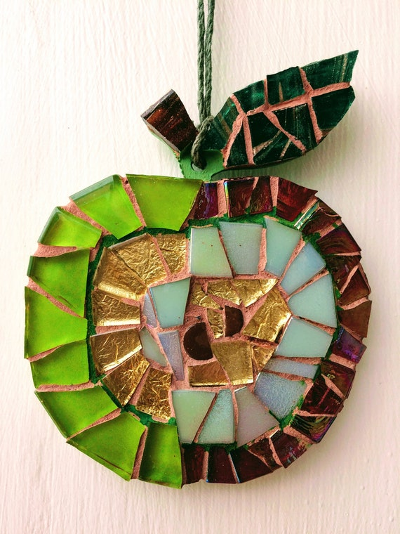 Handmade glass mosaic hanging red green gold apple Unique gift idea Kitchen decor Gift for her Gift for him Wall art Wall Decor