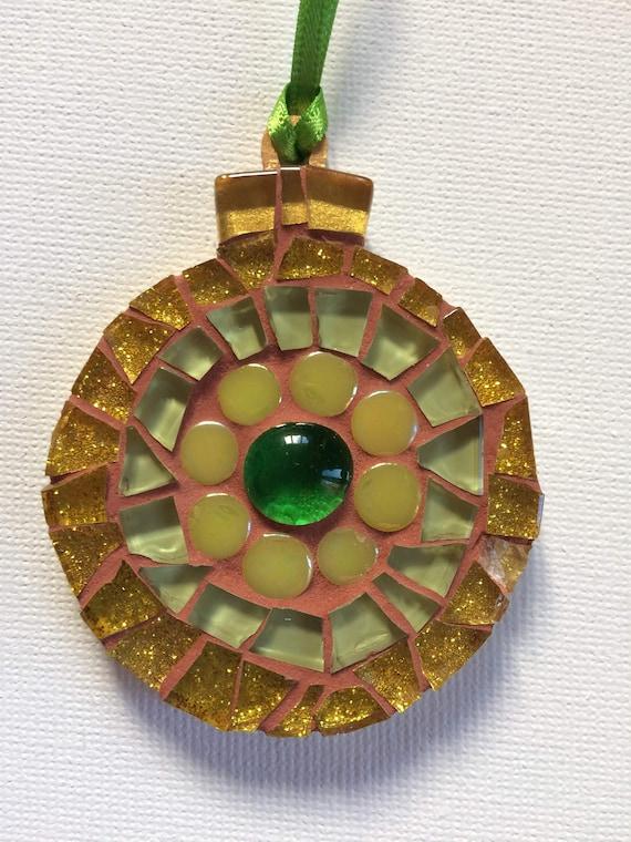 Handmade glass mosaic Christmas Bauble  Christmas tree ornament Christmas decoration Gold green Unique gift idea Home decor
