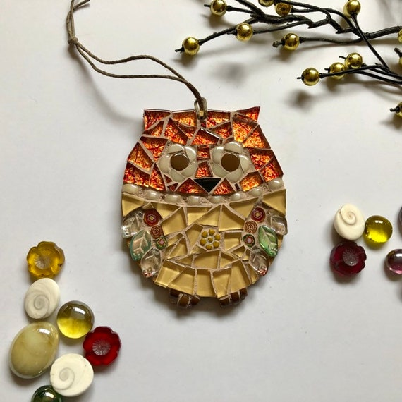 Handmade glass mosaic orange and gold hanging owl ornament Unique gift idea Home decor Mosaic wall art Christmas ornament