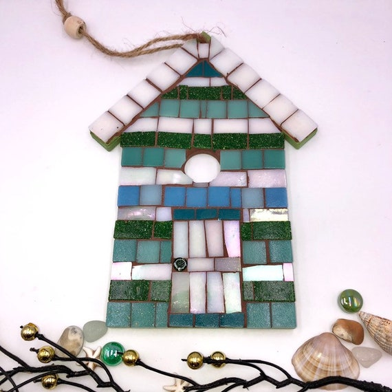 Handmade glass mosaic hanging white green blue beach hut ornament Unique gift idea Home decor Gift for her Seaside art Wall art Wall decor