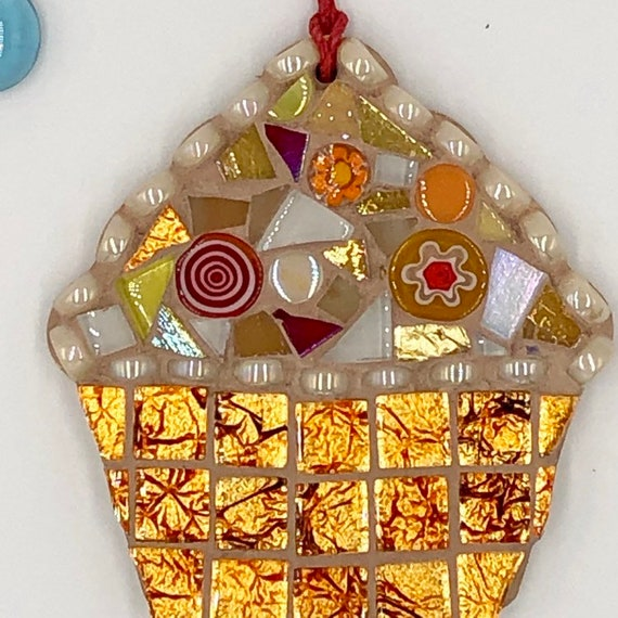 Handmade glass orange mosaic hanging cupcake ornament Unique gift idea Kitchen decor Gift for her