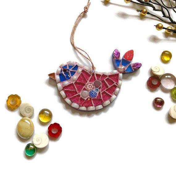 Mosaic Bird Ornament; Bird wall art; Handmade pink and blue bird ; Unique gift idea; Home decor