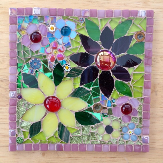 Handmade glass flower mosaic picture Unique gift idea Mother's Day gift  Home decor 'Yellow and Purple Daisies' Mosaic wall art