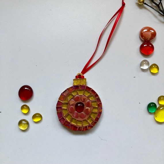 Handmade glass mosaic Christmas Bauble  Christmas tree ornament Christmas decoration Gold red Unique gift idea Home Christmas gift