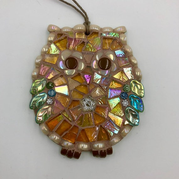 Handmade glass mosaic yellow and green hanging owl ornament Unique gift idea Home decor Gift for her