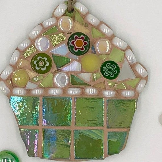 Handmade glass green mosaic hanging cupcake ornament Unique gift idea Kitchen decor Gift for her