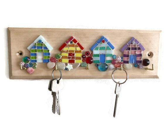 Wooden Key Holder; Wall Key Rack; Mosaic Beach Huts; Home Decor