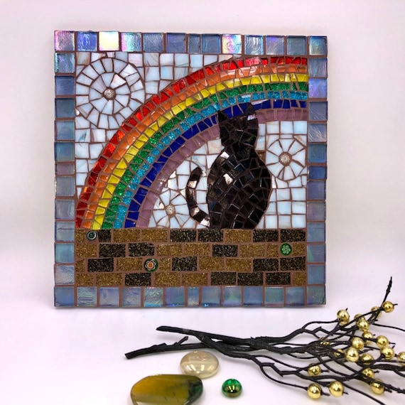Handmade glass abstract black cat mosaic picture Mosaic wall art Unique gift idea Home decor 'Cat and the Rainbow'