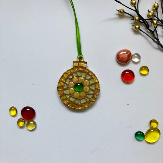 Handmade glass mosaic Christmas Bauble  Christmas tree ornament Christmas decoration Green Gold Unique gift idea Home Christmas gift