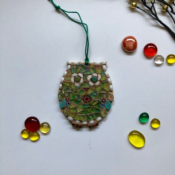 Handmade glass mosaic green hanging owl ornament Unique gift idea Home decor Mosaic wall art Christmas ornament