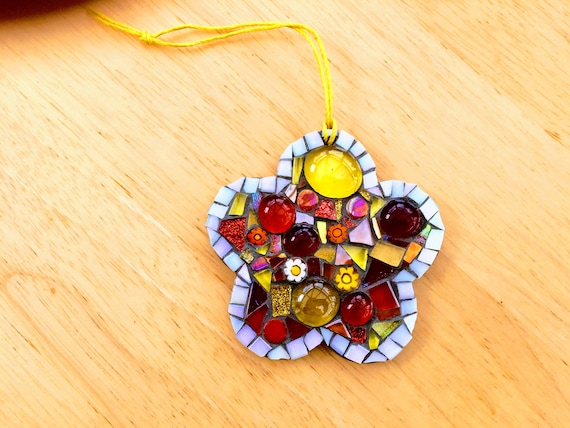 Handmade glass mosaic  hanging flower ornament, red, orange, yellow Unique gift idea Home decor Gift for her Mothers' Day