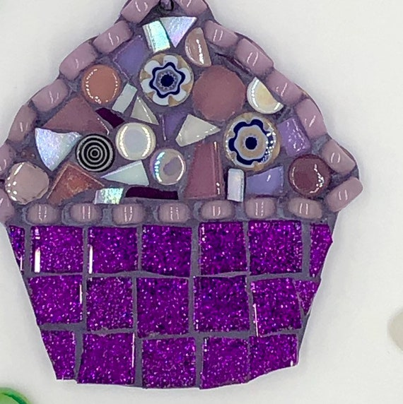 Handmade glass purple mosaic hanging cupcake ornament Unique gift idea Kitchen decor Gift for her