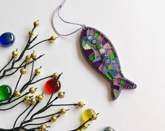 Mosaic Fish Ornament; Fish wall art; Handmade fish ; Unique gift idea; Home decor
