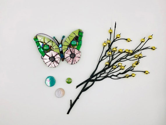 Handmade glass purple and green hanging butterfly mosaic  Butterfly ornament Unique gift idea Home decor Gift for her Mothers' Day