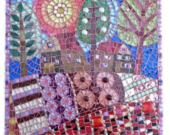 Mosaic Tree Picture ; Mosaic wall art;  Unique gift idea; Home decor