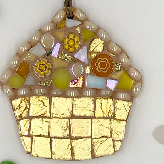 Handmade glass gold mosaic hanging cupcake ornament Unique gift idea Kitchen decor Gift for her