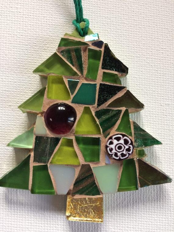 Handmade glass mosaic Christmas tree  Christmas tree ornament Christmas decoration Green purple Unique gift idea Home decor