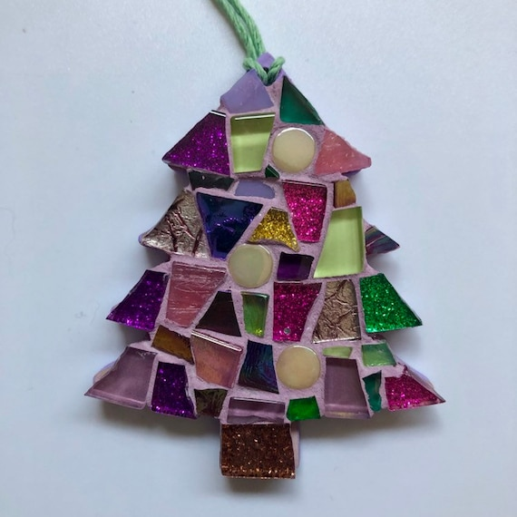 Handmade glass mosaic Christmas tree  Christmas tree ornament Christmas decoration , pink, purple Unique gift idea Home Christmas gift