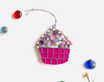 Mosaic Cupcake Ornament; Cupcake wall art; Handmade pink cupcake ; Unique gift idea; Home decor