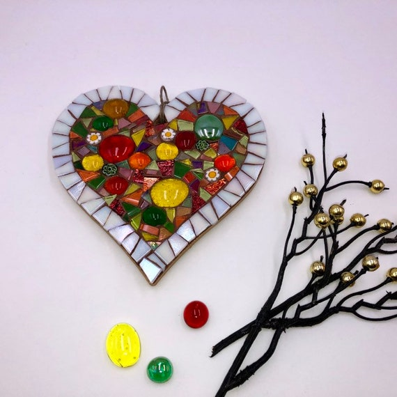 Handmade glass mosaic hanging red yellow green heart ornament Unique gift idea Home decor Gift for her Heart gift Wall art Wall decor