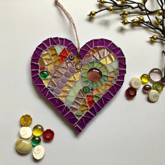 Handmade glass mosaic hanging heart ornament purple gold green Unique gift idea Home decor Heart gift Wall art Wall decor Christmas gift
