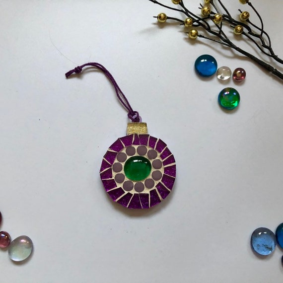 Handmade glass mosaic Christmas Bauble  Christmas tree ornament Christmas decoration Purple Green Unique Christmas gift Home decor