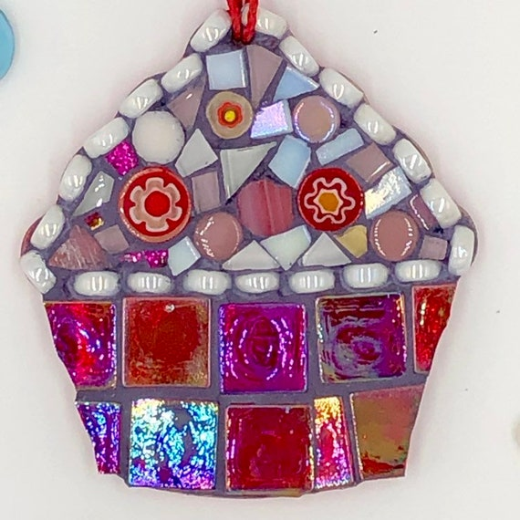 Handmade glass red mosaic hanging cupcake ornament Unique gift idea Kitchen decor Gift for her